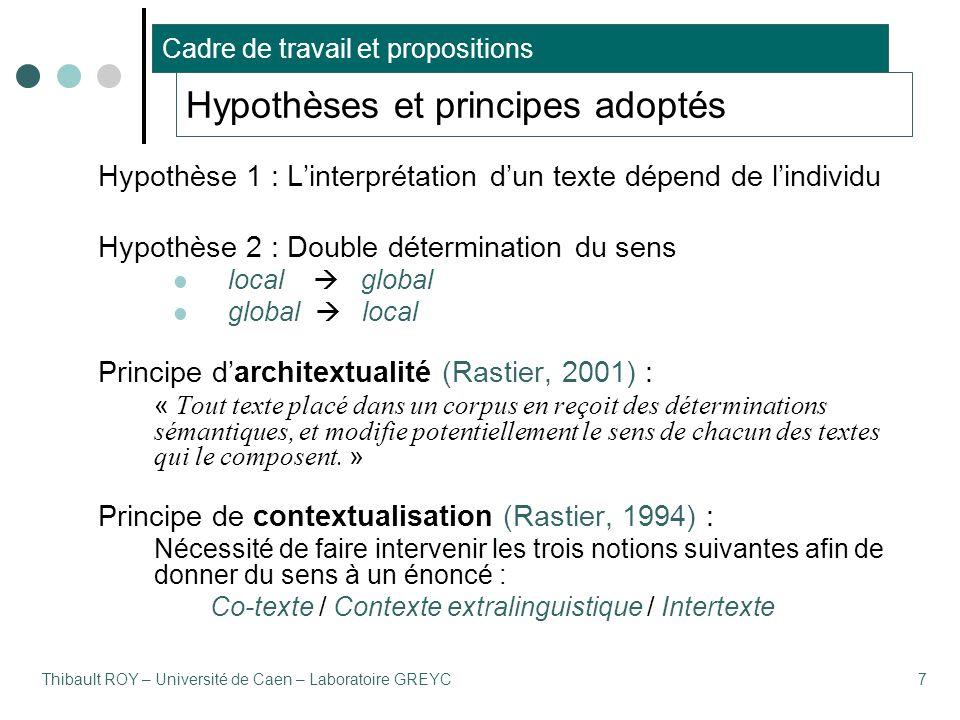 Thibault ROY – Université de Caen – Laboratoire GREYC7 Hypothèses et principes adoptés Hypothèse 1 : L'interprétation d'un texte dépend de l'individu