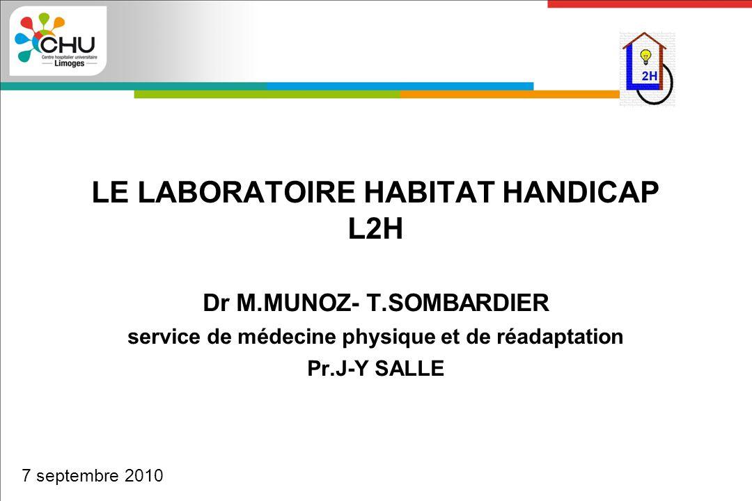 LE LABORATOIRE HABITAT HANDICAP L2H Dr M.MUNOZ- T.SOMBARDIER service de médecine physique et de réadaptation Pr.J-Y SALLE 7 septembre 2010