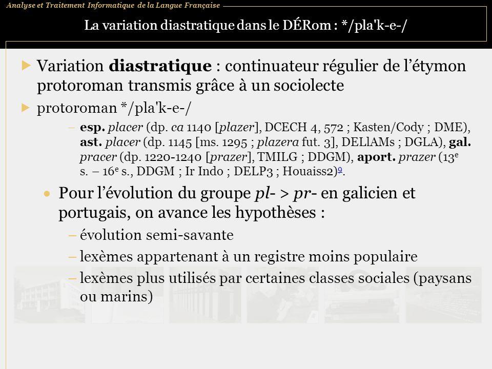 Analyse et Traitement Informatique de la Langue Française La variation diastratique dans le DÉRom : */pla'k ‑ e ‑ /  Variation diastratique : continu