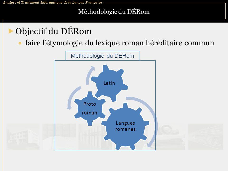 Analyse et Traitement Informatique de la Langue Française Méthodologie du DÉRom  Objectif du DÉRom  faire l'étymologie du lexique roman héréditaire