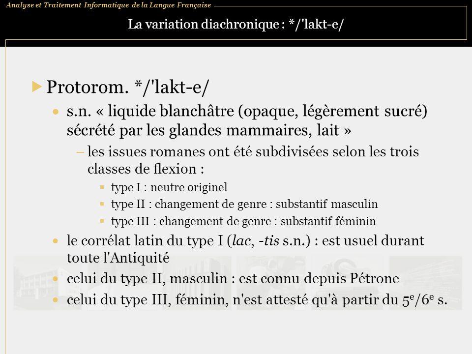 Analyse et Traitement Informatique de la Langue Française La variation diachronique : */'lakt ‑ e/  Protorom. */'lakt ‑ e/  s.n. « liquide blanchâtr