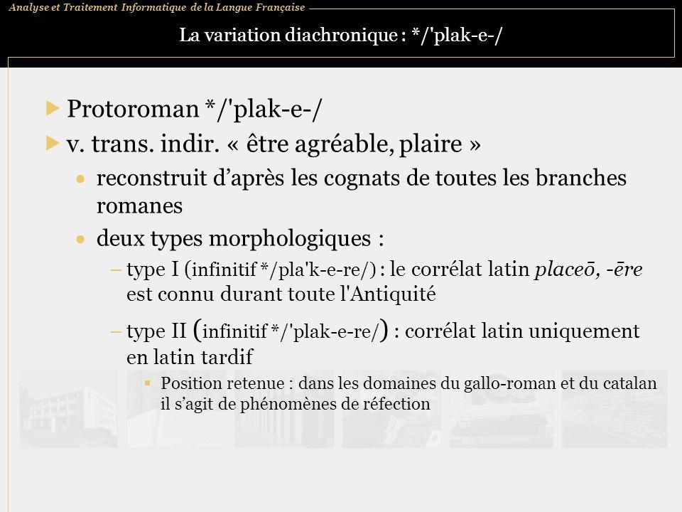 Analyse et Traitement Informatique de la Langue Française La variation diachronique : */'plak ‑ e ‑ /  Protoroman */'plak ‑ e ‑ /  v. trans. indir.