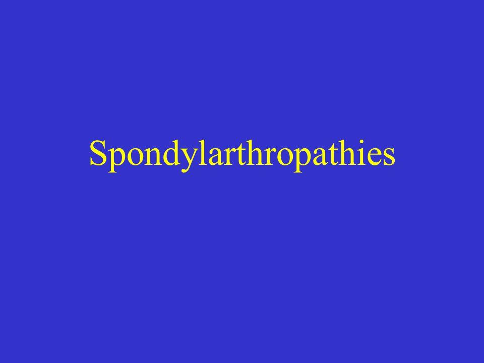 SPA Arthrite Réactionnelle Rhumatisme Pso SAPHO SP des enterocolopathies SP indifférenciée Combinaisons de manifestations cliniques : Atteinte axiale, Sd enthésopathique, arthrite periphérique Sd extra-articulaire: iritis, pso, balanite, uréthrite, diarrhée, enterocolopathie inflammatoire