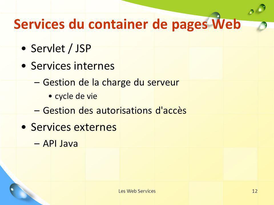 Les Web Services12 Services du container de pages Web Servlet / JSP Services internes –Gestion de la charge du serveur cycle de vie –Gestion des autor