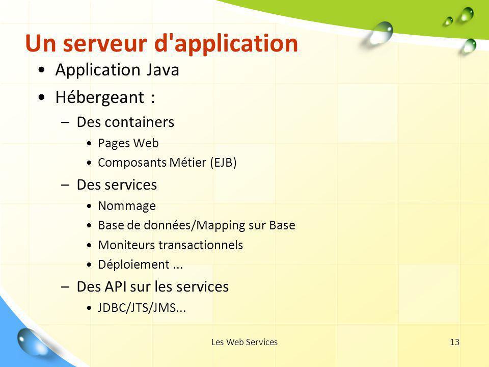 Les Web Services13 Un serveur d'application Application Java Hébergeant : –Des containers Pages Web Composants Métier (EJB) –Des services Nommage Base