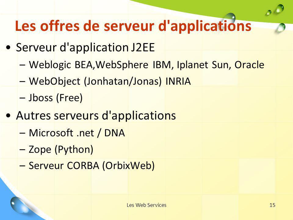 Les Web Services15 Les offres de serveur d'applications Serveur d'application J2EE –Weblogic BEA,WebSphere IBM, Iplanet Sun, Oracle –WebObject (Jonhat