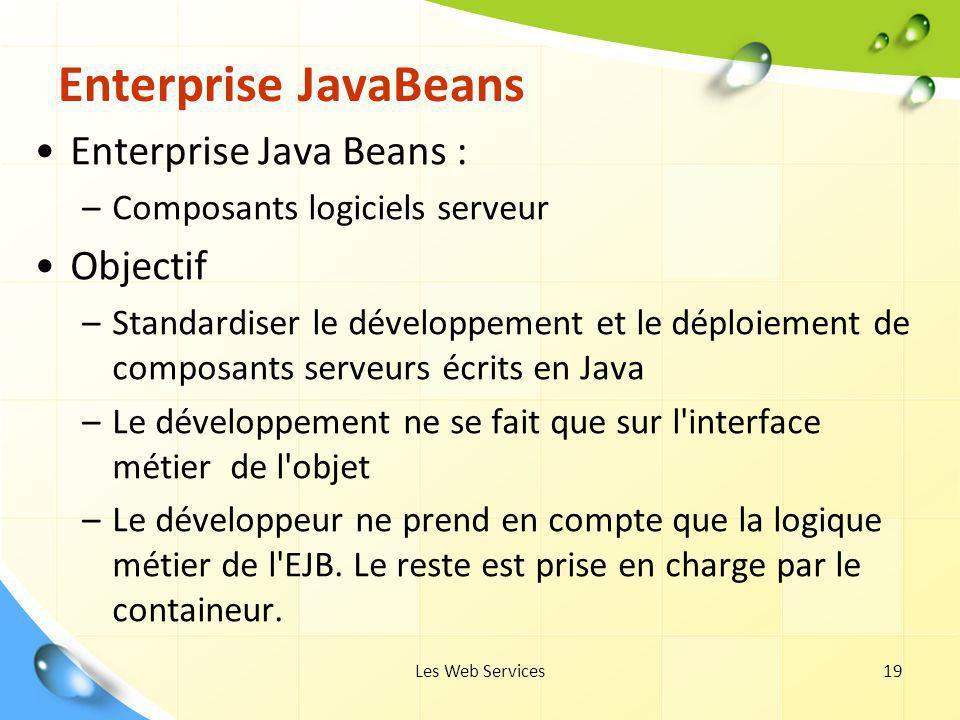 Les Web Services19 Enterprise JavaBeans Enterprise Java Beans : –Composants logiciels serveur Objectif –Standardiser le développement et le déploiemen