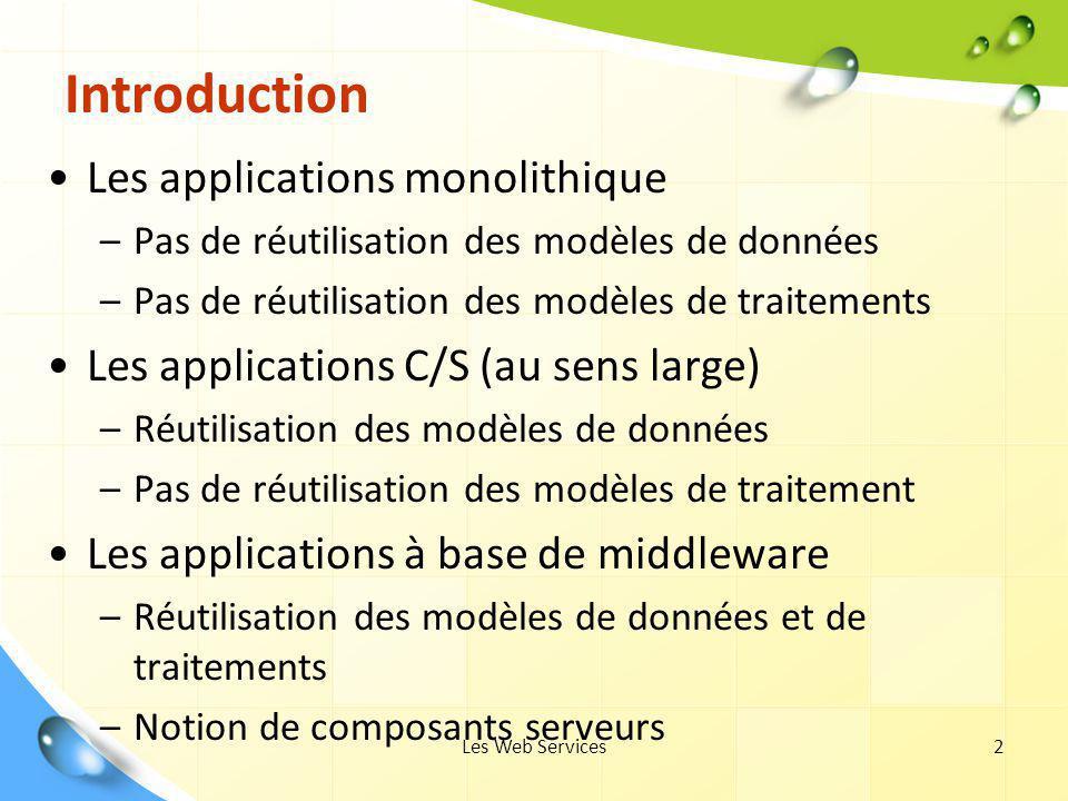 Les Web Services2 Introduction Les applications monolithique –Pas de réutilisation des modèles de données –Pas de réutilisation des modèles de traitem