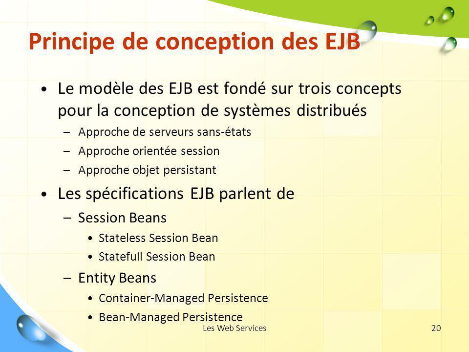 Les Web Services20 Principe de conception des EJB Le modèle des EJB est fondé sur trois concepts pour la conception de systèmes distribués – Approche