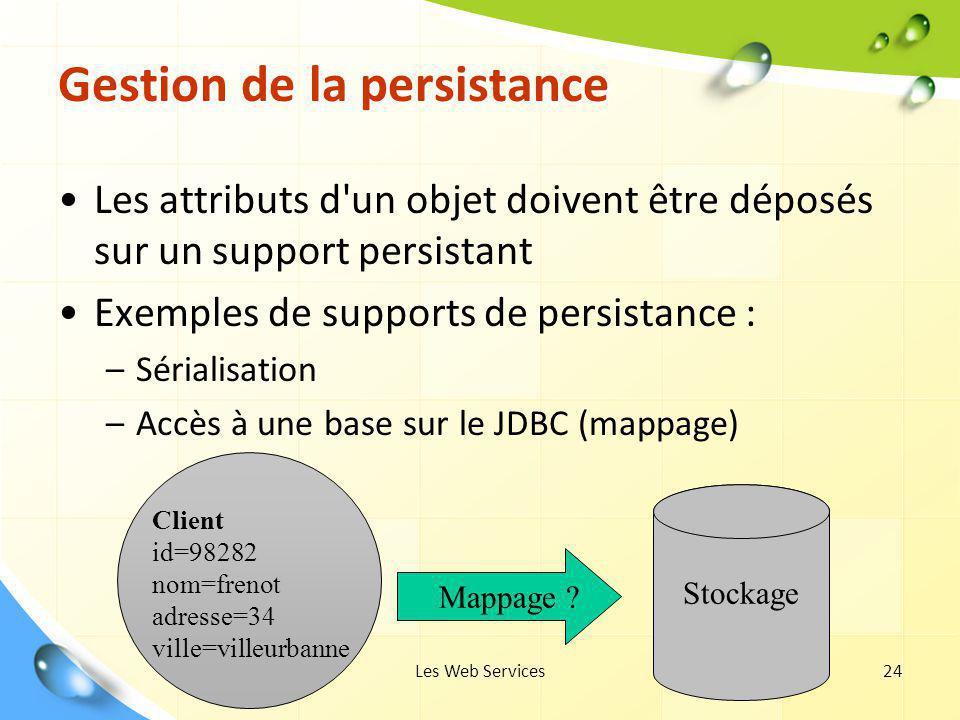 Les Web Services24 Gestion de la persistance Les attributs d'un objet doivent être déposés sur un support persistant Exemples de supports de persistan