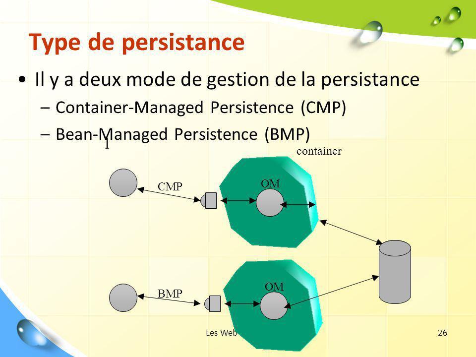 Les Web Services26 Type de persistance Il y a deux mode de gestion de la persistance –Container-Managed Persistence (CMP) –Bean-Managed Persistence (B