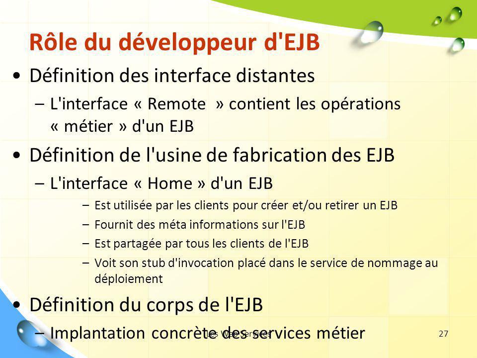 Les Web Services27 Rôle du développeur d'EJB Définition des interface distantes –L'interface « Remote » contient les opérations « métier » d'un EJB Dé