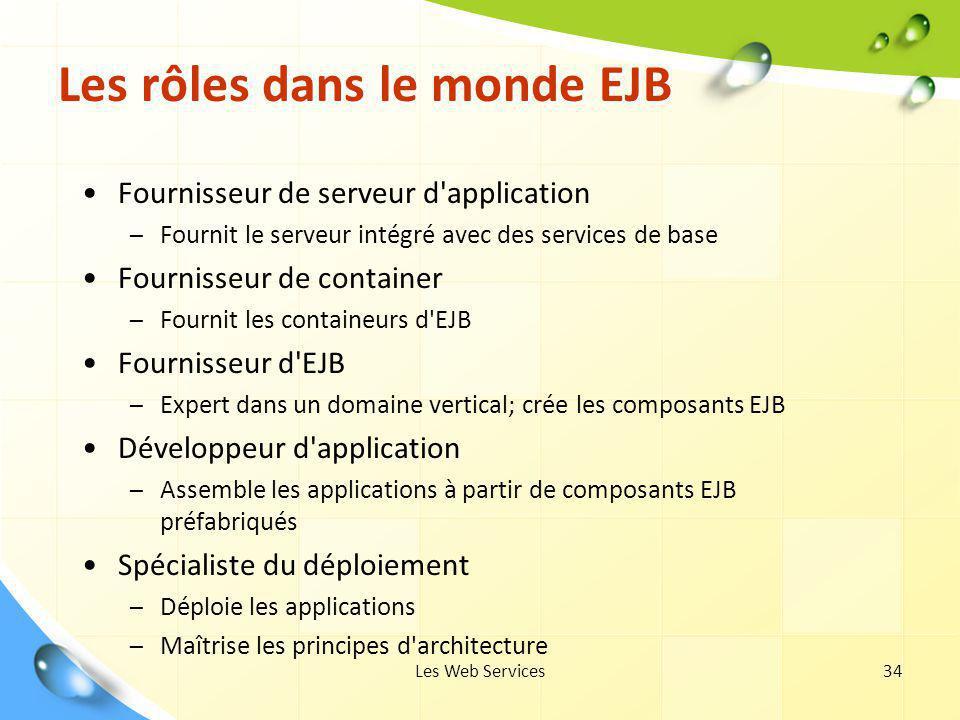 Les Web Services34 Les rôles dans le monde EJB Fournisseur de serveur d'application – Fournit le serveur intégré avec des services de base Fournisseur