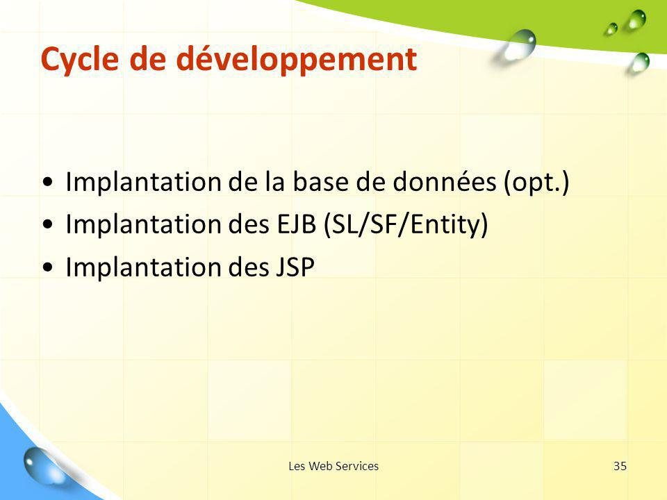 Les Web Services35 Cycle de développement Implantation de la base de données (opt.) Implantation des EJB (SL/SF/Entity) Implantation des JSP