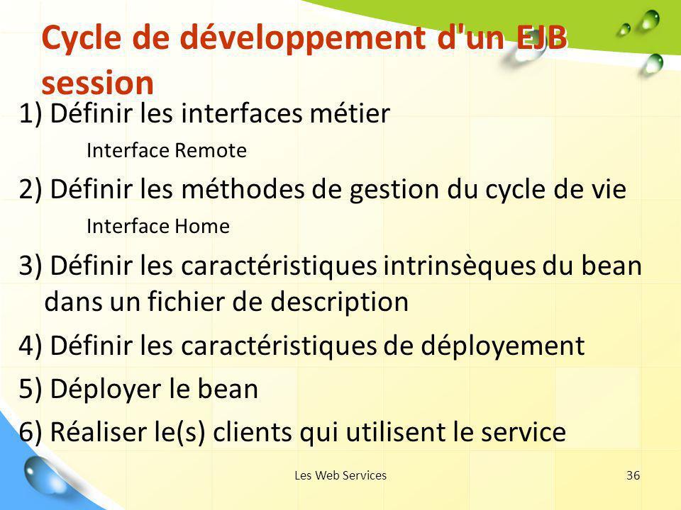 Les Web Services36 Cycle de développement d'un EJB session 1) Définir les interfaces métier Interface Remote 2) Définir les méthodes de gestion du cyc