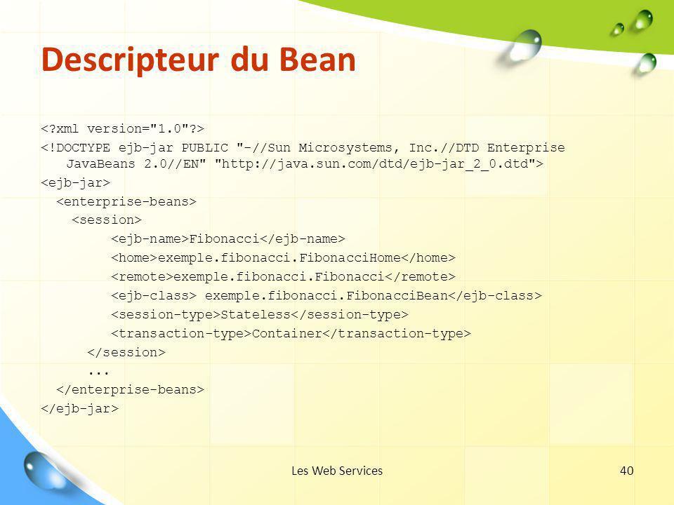 Les Web Services40 Descripteur du Bean Fibonacci exemple.fibonacci.FibonacciHome exemple.fibonacci.Fibonacci exemple.fibonacci.FibonacciBean Stateless