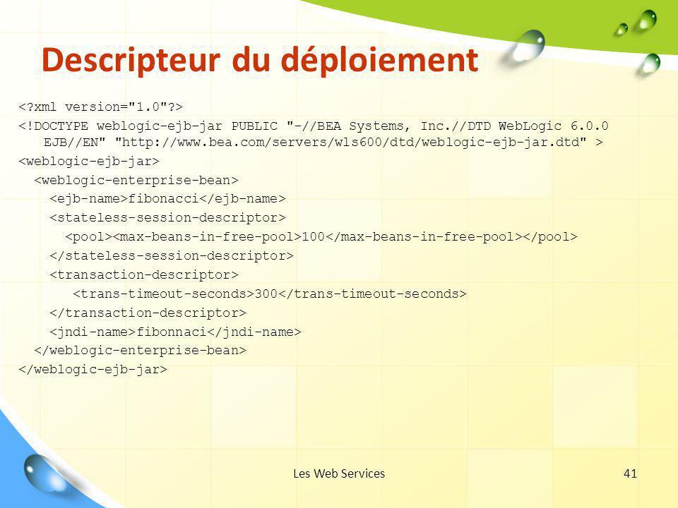 Les Web Services41 Descripteur du déploiement fibonacci 100 300 fibonnaci