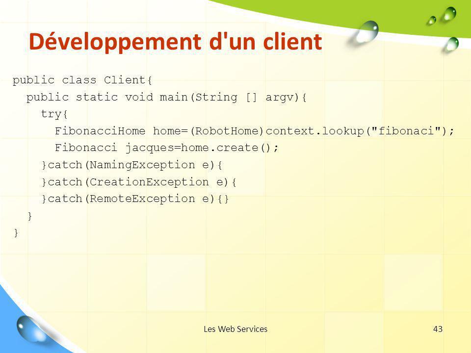 Les Web Services43 Développement d'un client public class Client{ public static void main(String [] argv){ try{ FibonacciHome home=(RobotHome)context.