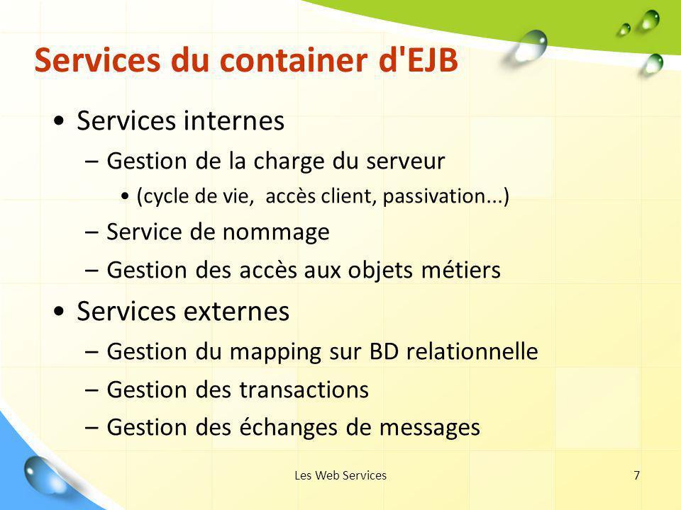 Les Web Services38 Interface Home Interface Home de l EJB fibonacci package exemple.fibonacci; import javax.ejb; import java.rmi; public interface FibonacciHome extends EJBHome { public Fibonacci create() throws CreateException, RemoteException; }