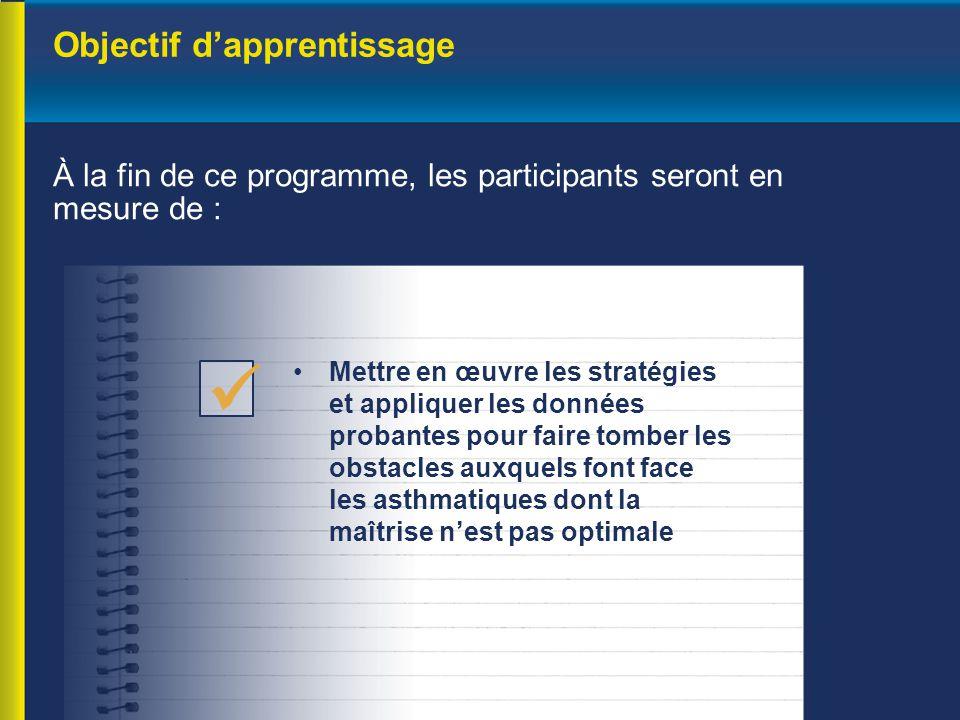 Objectif d'apprentissage À la fin de ce programme, les participants seront en mesure de : Mettre en œuvre les stratégies et appliquer les données prob