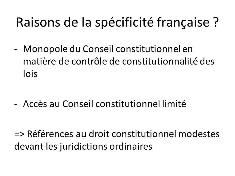 Raisons de la spécificité française .
