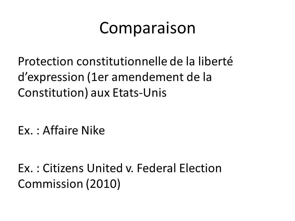 Comparaison Protection constitutionnelle de la liberté d'expression (1er amendement de la Constitution) aux Etats-Unis Ex.