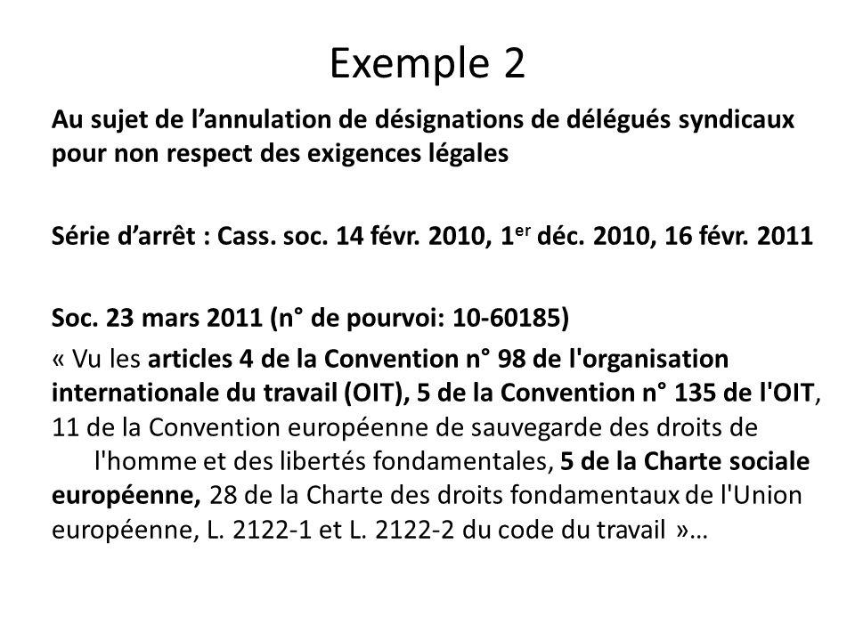 Exemple 2 Au sujet de l'annulation de désignations de délégués syndicaux pour non respect des exigences légales Série d'arrêt : Cass.