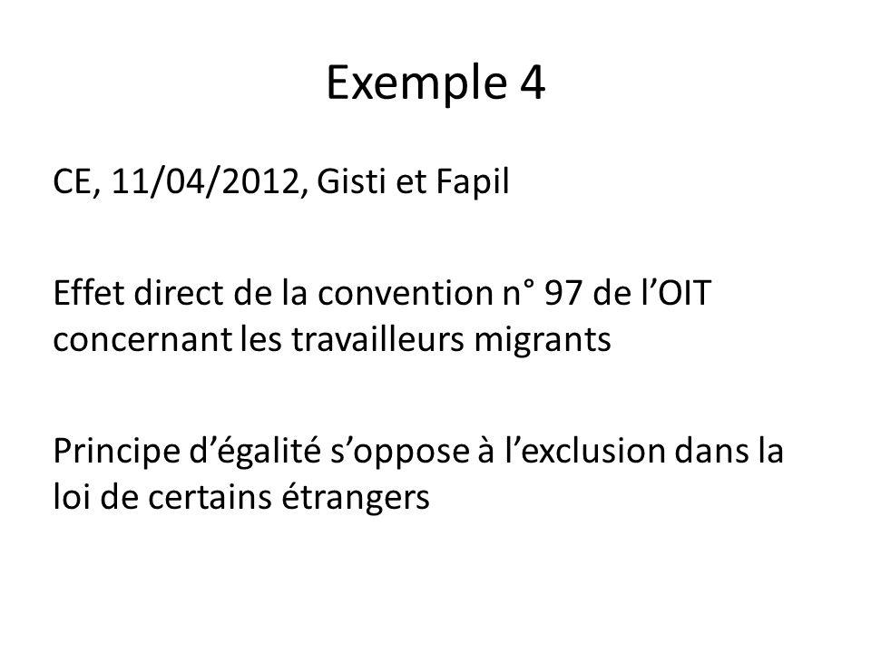 Exemple 4 CE, 11/04/2012, Gisti et Fapil Effet direct de la convention n° 97 de l'OIT concernant les travailleurs migrants Principe d'égalité s'oppose à l'exclusion dans la loi de certains étrangers