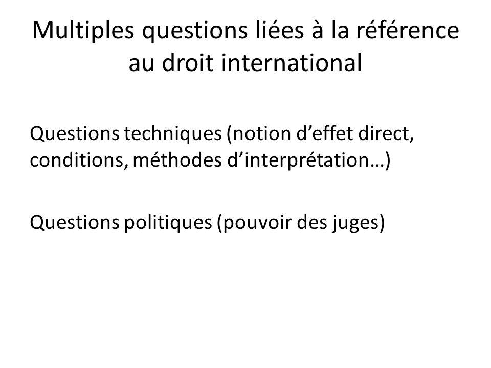 Multiples questions liées à la référence au droit international Questions techniques (notion d'effet direct, conditions, méthodes d'interprétation…) Questions politiques (pouvoir des juges)