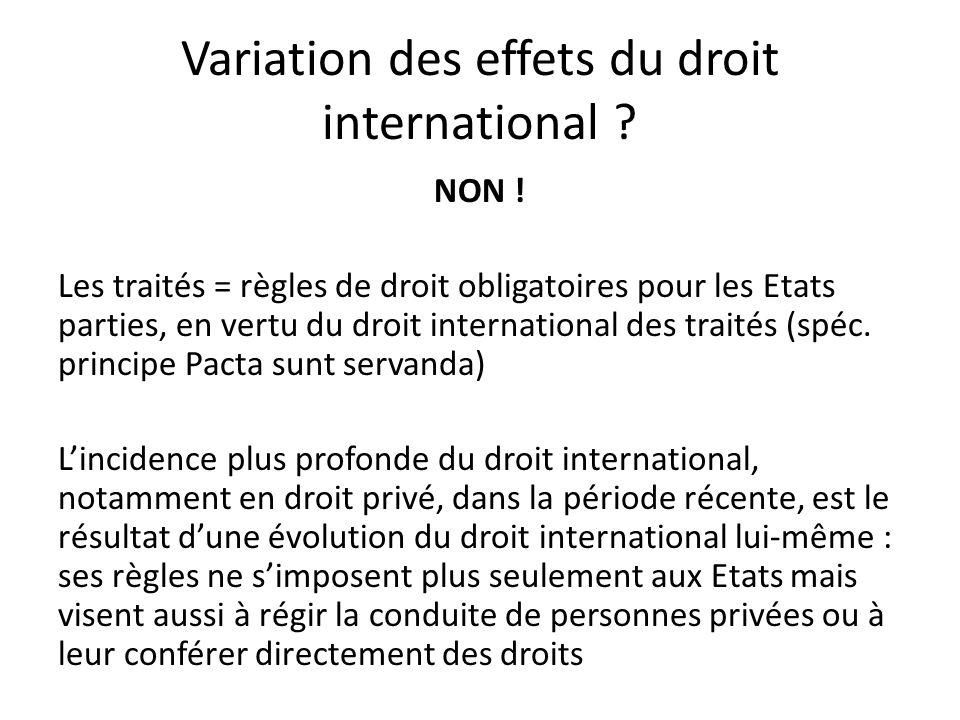 Variation des effets du droit international .NON .