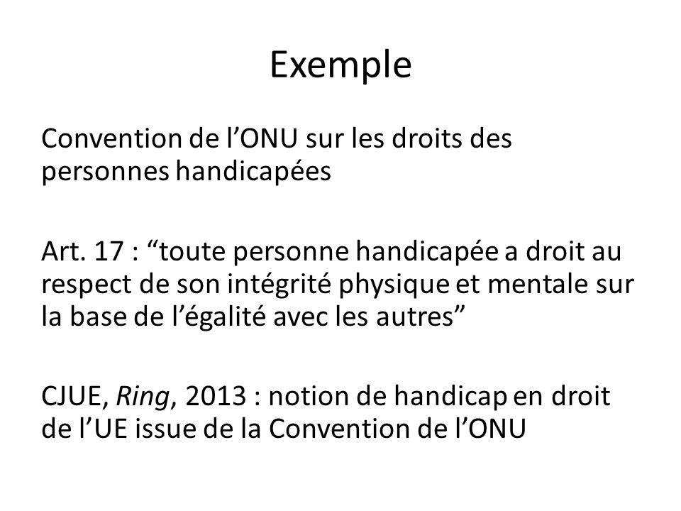 Exemple Convention de l'ONU sur les droits des personnes handicapées Art.