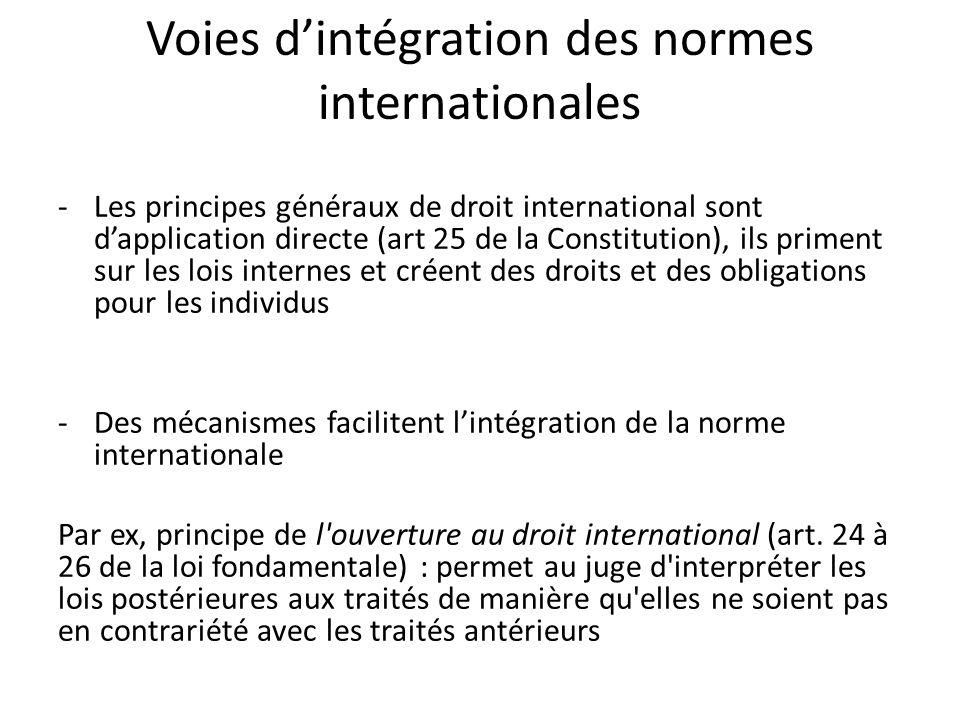Voies d'intégration des normes internationales -Les principes généraux de droit international sont d'application directe (art 25 de la Constitution), ils priment sur les lois internes et créent des droits et des obligations pour les individus -Des mécanismes facilitent l'intégration de la norme internationale Par ex, principe de l ouverture au droit international (art.