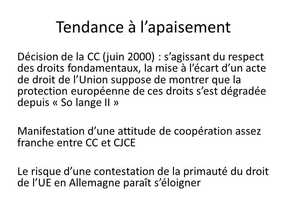 Tendance à l'apaisement Décision de la CC (juin 2000) : s'agissant du respect des droits fondamentaux, la mise à l'écart d'un acte de droit de l'Union suppose de montrer que la protection européenne de ces droits s'est dégradée depuis « So lange II » Manifestation d'une attitude de coopération assez franche entre CC et CJCE Le risque d'une contestation de la primauté du droit de l'UE en Allemagne paraît s'éloigner