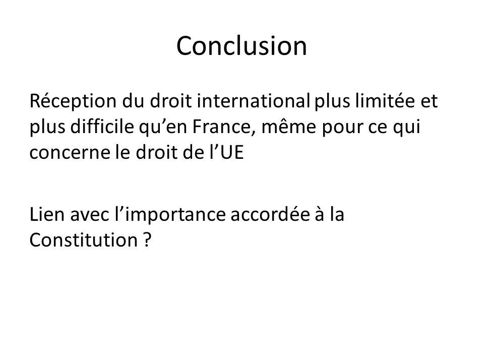 Conclusion Réception du droit international plus limitée et plus difficile qu'en France, même pour ce qui concerne le droit de l'UE Lien avec l'importance accordée à la Constitution ?