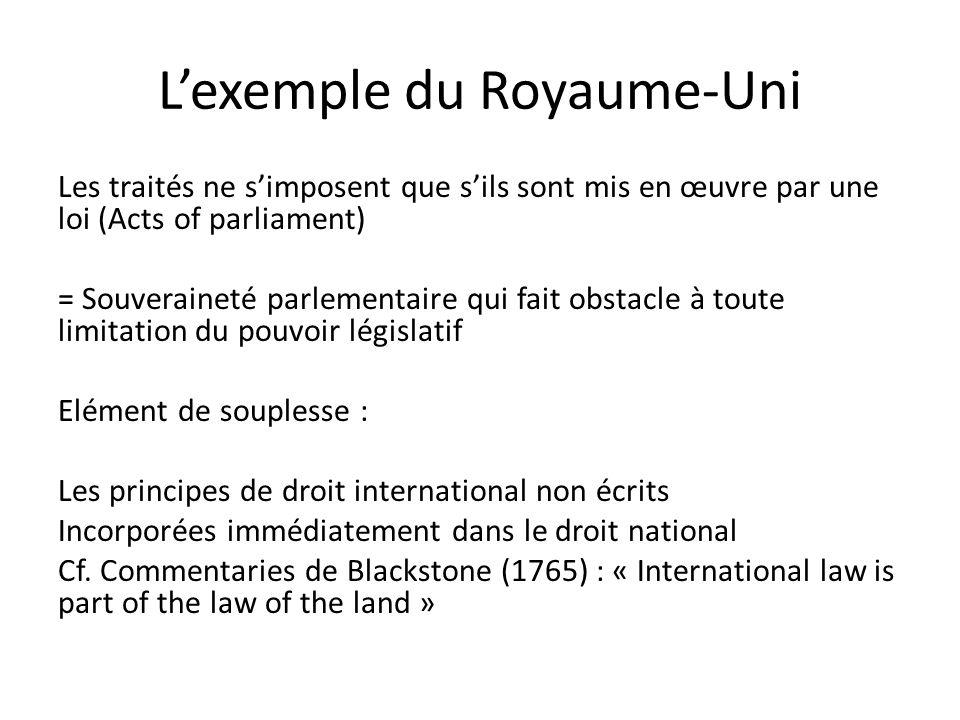 L'exemple du Royaume-Uni Les traités ne s'imposent que s'ils sont mis en œuvre par une loi (Acts of parliament) = Souveraineté parlementaire qui fait obstacle à toute limitation du pouvoir législatif Elément de souplesse : Les principes de droit international non écrits Incorporées immédiatement dans le droit national Cf.