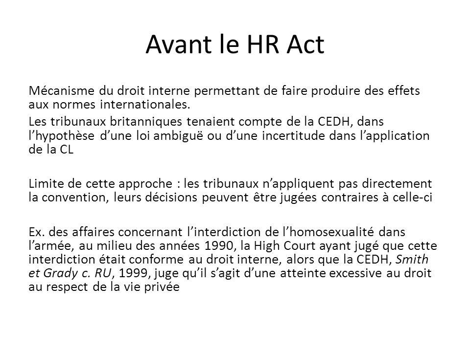 Avant le HR Act Mécanisme du droit interne permettant de faire produire des effets aux normes internationales.