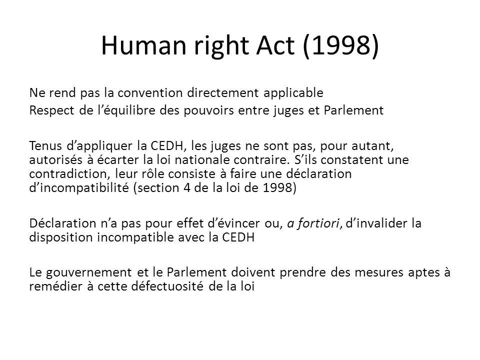 Human right Act (1998) Ne rend pas la convention directement applicable Respect de l'équilibre des pouvoirs entre juges et Parlement Tenus d'appliquer la CEDH, les juges ne sont pas, pour autant, autorisés à écarter la loi nationale contraire.