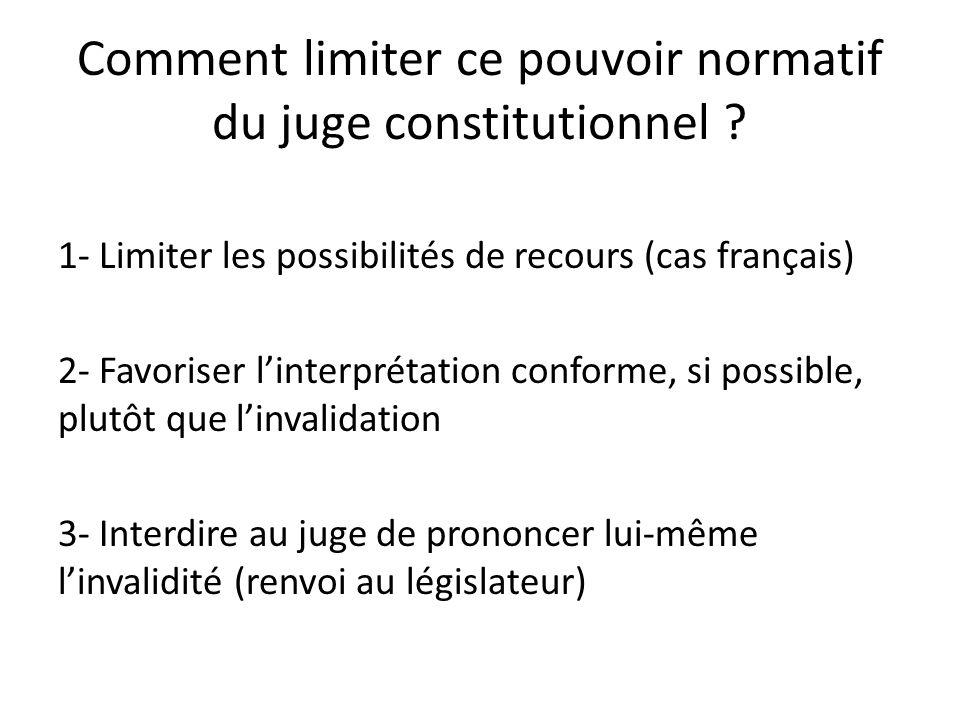 Comment limiter ce pouvoir normatif du juge constitutionnel .