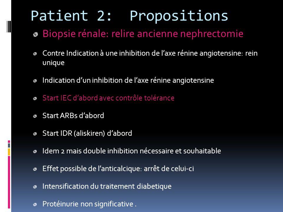 Patient 2: Propositions Biopsie rénale: relire ancienne nephrectomie Contre Indication à une inhibition de l'axe rénine angiotensine: rein unique Indi
