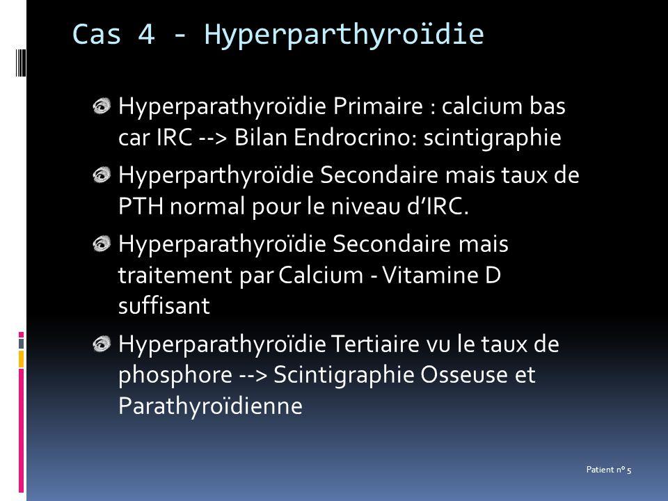 Cas 4 - Hyperparthyroïdie Hyperparathyroïdie Primaire : calcium bas car IRC --> Bilan Endrocrino: scintigraphie Hyperparthyroïdie Secondaire mais taux