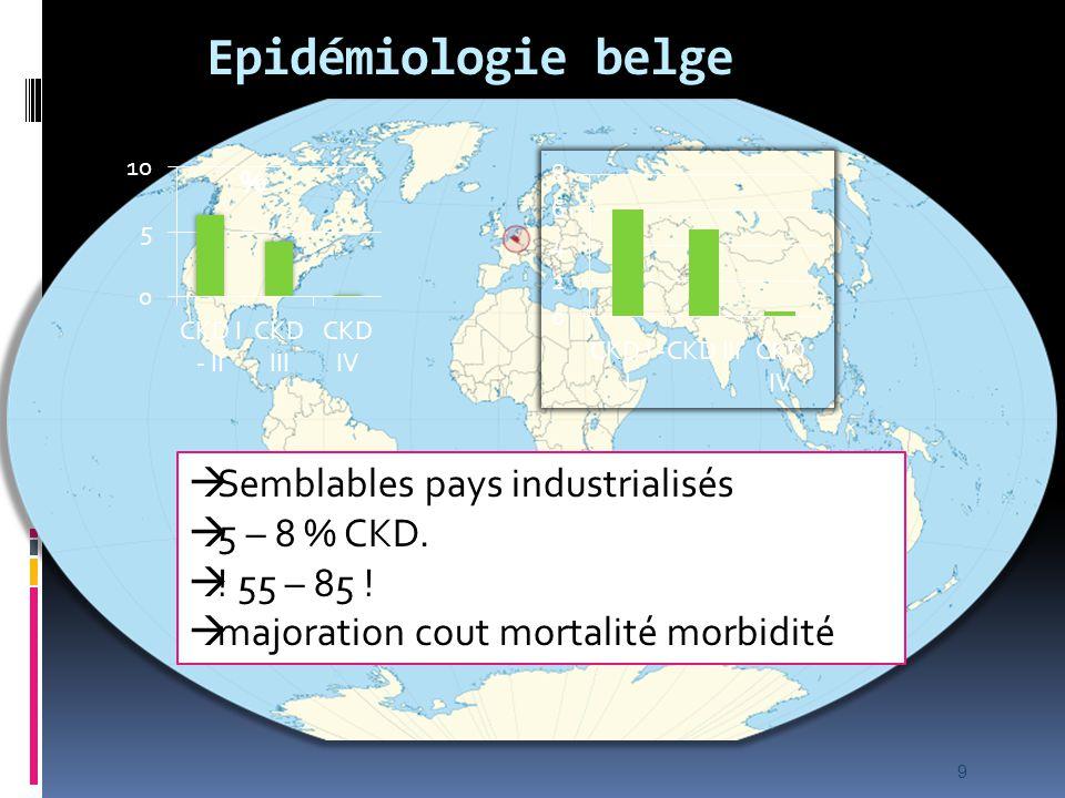 Epidémiologie belge  Semblables pays industrialisés  5 – 8 % CKD.  ! 55 – 85 !  majoration cout mortalité morbidité 9