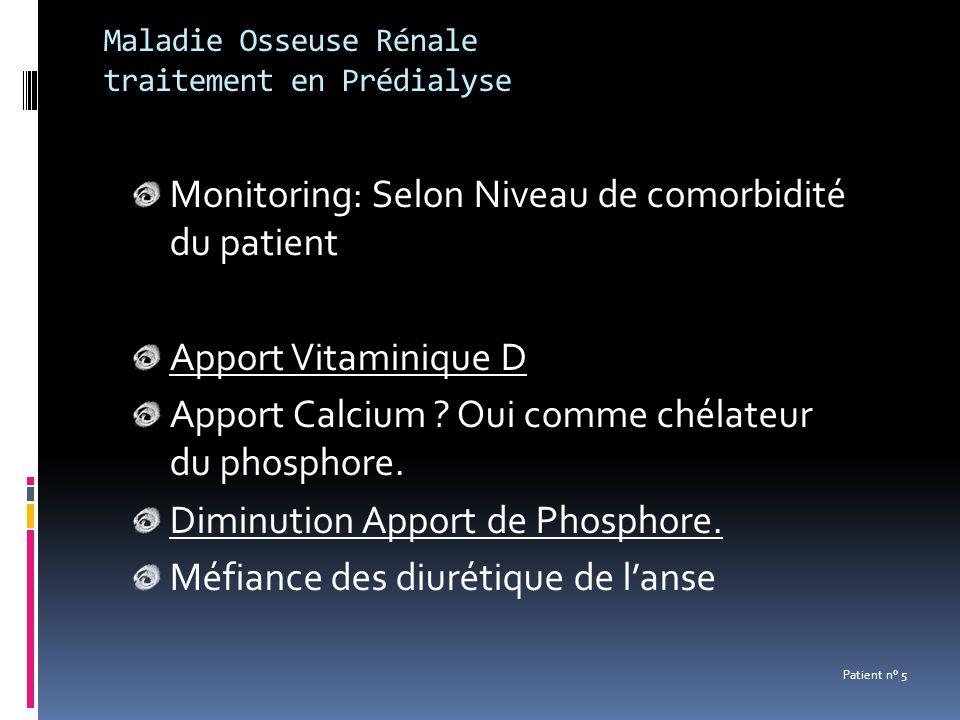 Maladie Osseuse Rénale traitement en Prédialyse Monitoring: Selon Niveau de comorbidité du patient Apport Vitaminique D Apport Calcium ? Oui comme ché