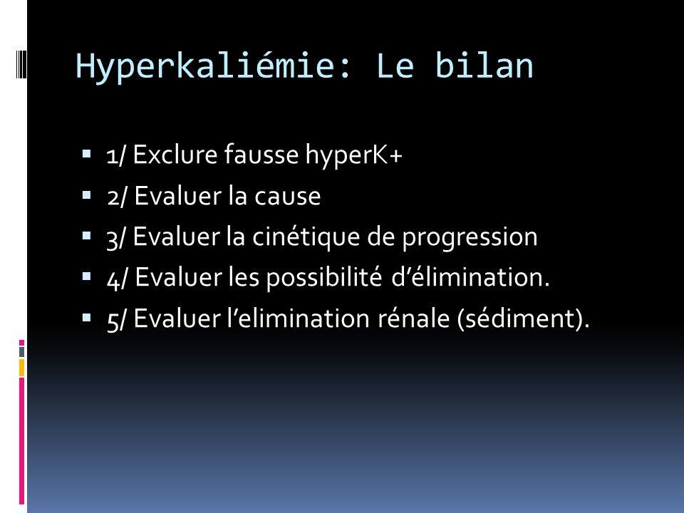 Hyperkaliémie: Le bilan  1/ Exclure fausse hyperK+  2/ Evaluer la cause  3/ Evaluer la cinétique de progression  4/ Evaluer les possibilité d'élim