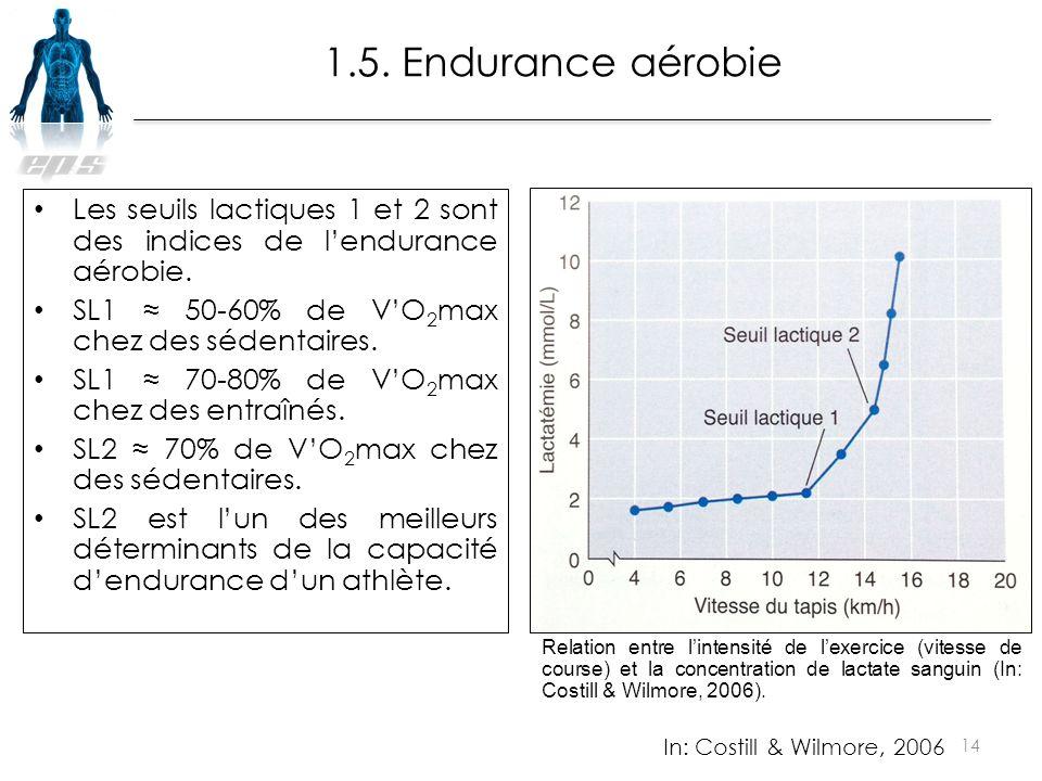 Les seuils lactiques 1 et 2 sont des indices de l'endurance aérobie. SL1 ≈ 50-60% de V'O 2 max chez des sédentaires. SL1 ≈ 70-80% de V'O 2 max chez de