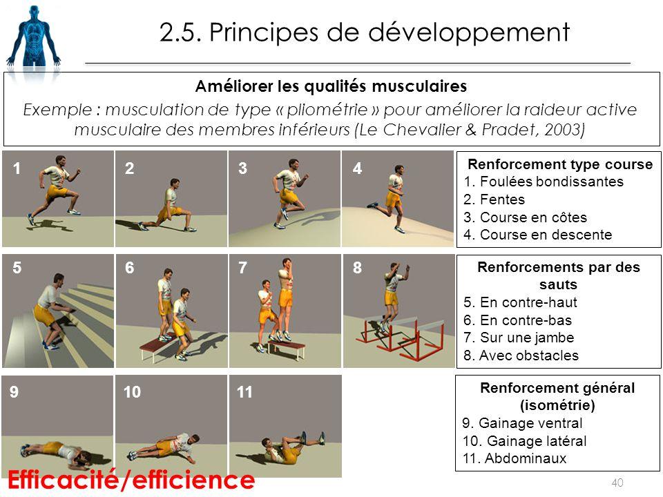 Améliorer les qualités musculaires Exemple : musculation de type « pliométrie » pour améliorer la raideur active musculaire des membres inférieurs (Le