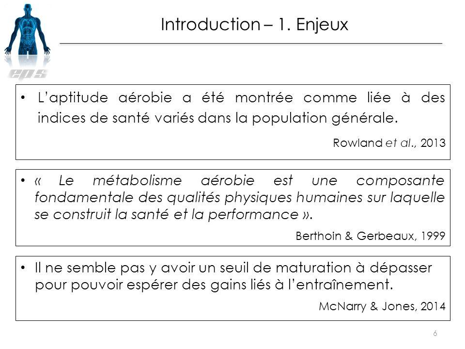 L'aptitude aérobie a été montrée comme liée à des indices de santé variés dans la population générale. Rowland et al., 2013 6 « Le métabolisme aérobie