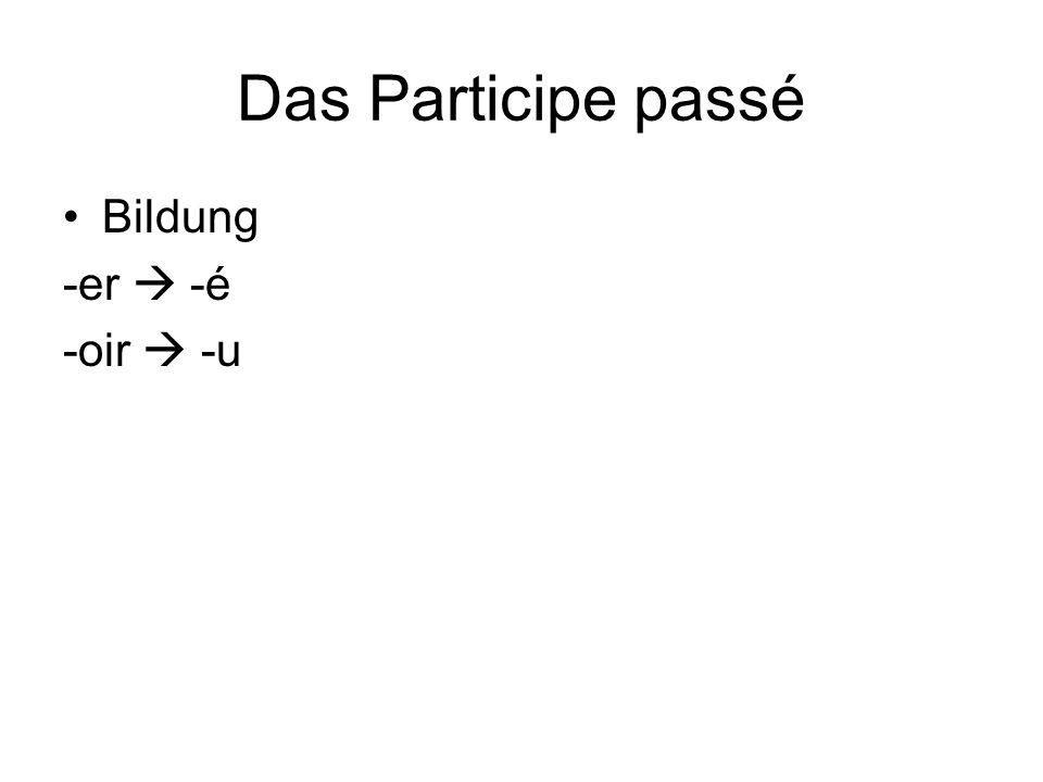 Das Participe passé Bildung -er  -é -oir  -u