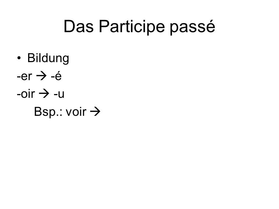 Das Participe passé Bildung -er  -é -oir  -u Bsp.: voir 