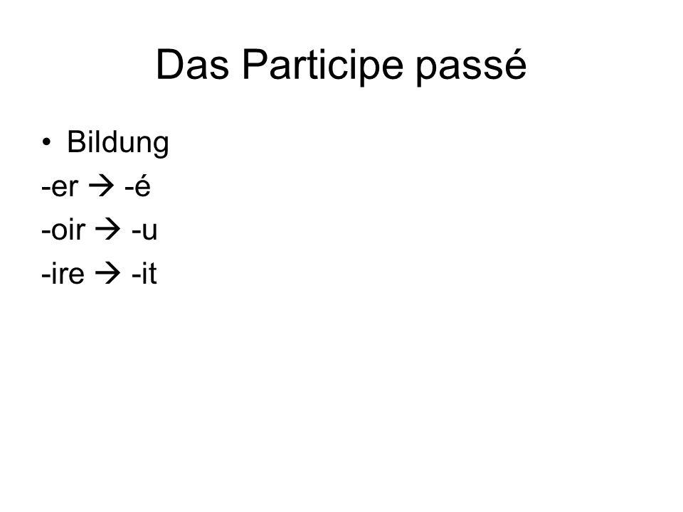 Das Participe passé Bildung -er  -é -oir  -u -ire  -it