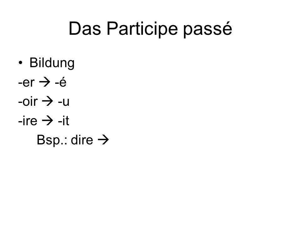 Das Participe passé Bildung -er  -é -oir  -u -ire  -it Bsp.: dire 